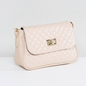 Handbags - Cross body gold chain faux leather pink purse